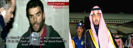 The crazed jihadis (left) are getting their 'fighting spirit' from drugs supplied by the likes of Saudi 'royals' like Saudi Prince Majed Abdulaziz Al-Saud (right)  he was recently arrested at an airport in Lebanon with two tons of Captagon pills.