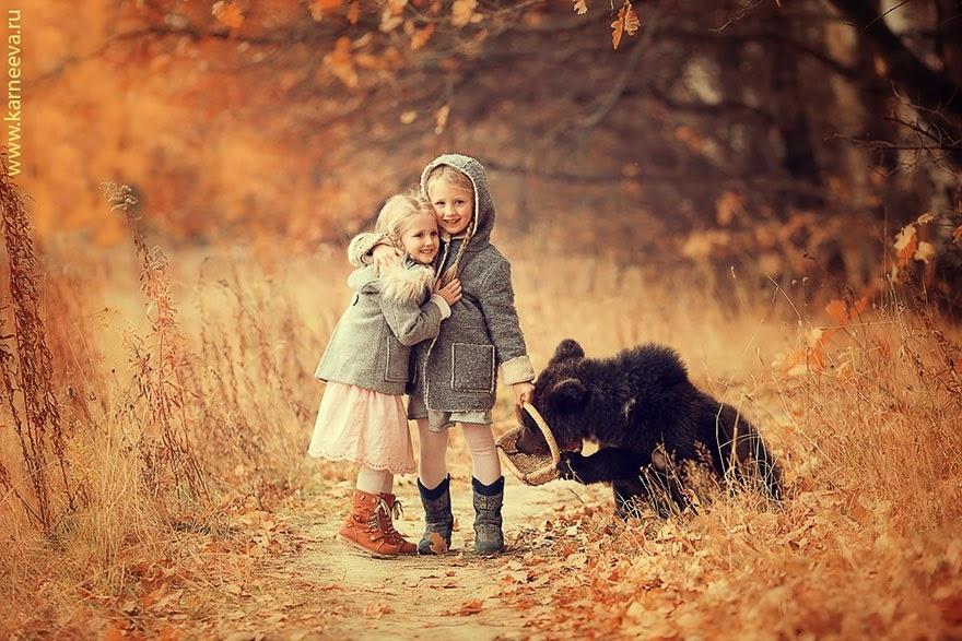 children and animal playing elena karneeva-4