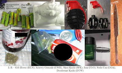 Fireworks, Screwdriver shaped like grenade, concealed drugs, knives.