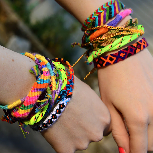 rainbow friendship bracelet crafted from macrame