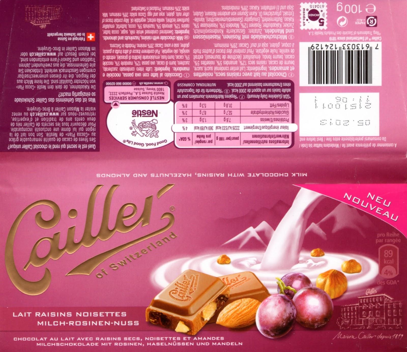 tablette de chocolat lait gourmand cailler lait raisins noisettes