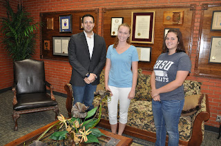 Kevin Madden,Kelsie Newman and Sara Winbigler (l to r). were one of three teams awarded the first Undergraduate Summer Research Stipend at SHSU.