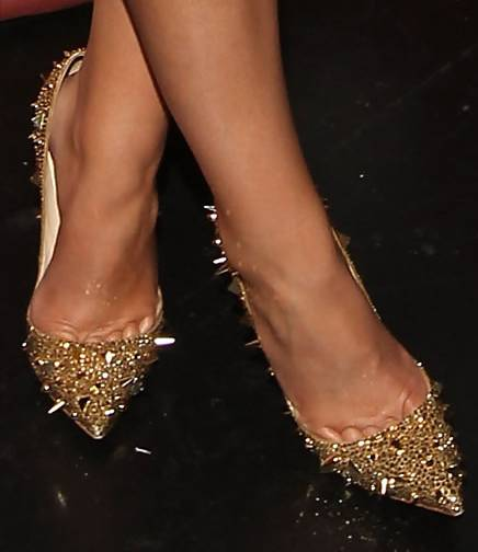 christian louboutin red and gold spiked heels - ELSOC