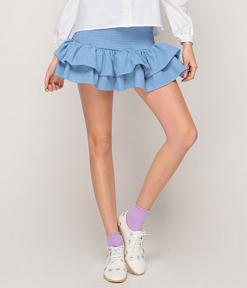 Ruched Double Ruffle Skirt