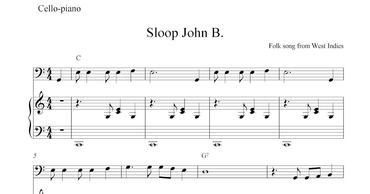 Free cello and piano sheet music, Sloop John B.