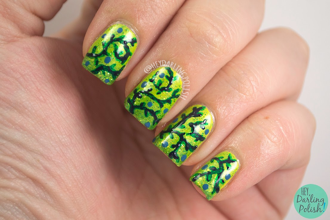 nails, nail art, nail polish, vines, green, hey darling polish, the never ending pile challenge, dots,