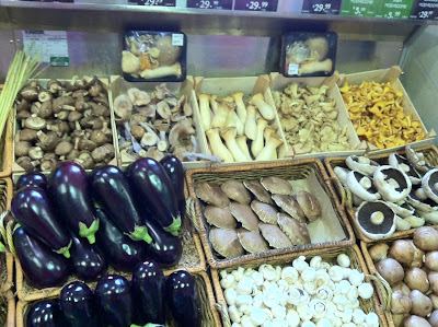 A huge range of mushrooms & lovely aubergines at Fallon & Byrne, Dublin