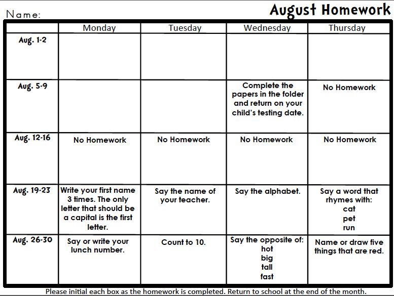 Homework Calendars | Homework Calendar Maker