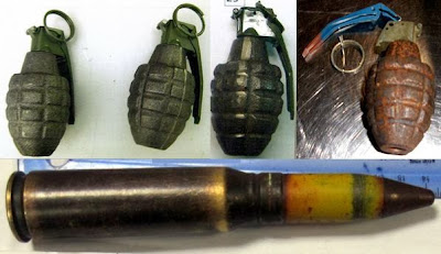 Left to Right - Top to Bottom - Three Inert Grenades (DEN), Inert Grenade (AUS), 20mm Round (SAN)
