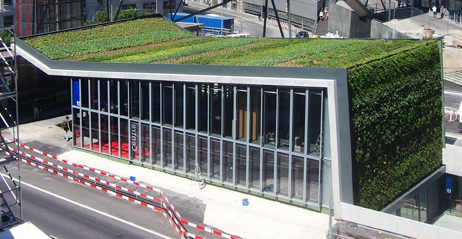 Muro y cubierta vegetal en el metro de lausanne jardines for Muros verdes verticales