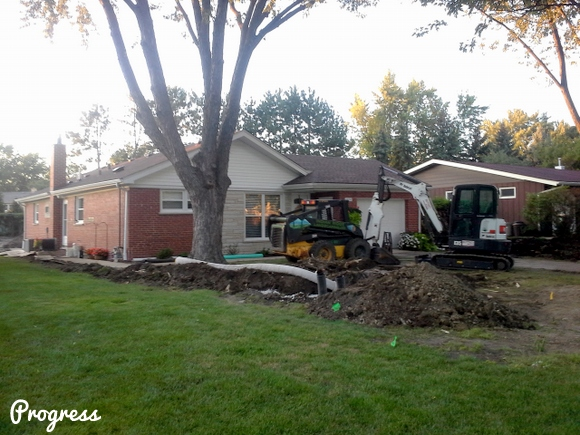 The progress being made on our landscaping. They had to move a lot of dirt!