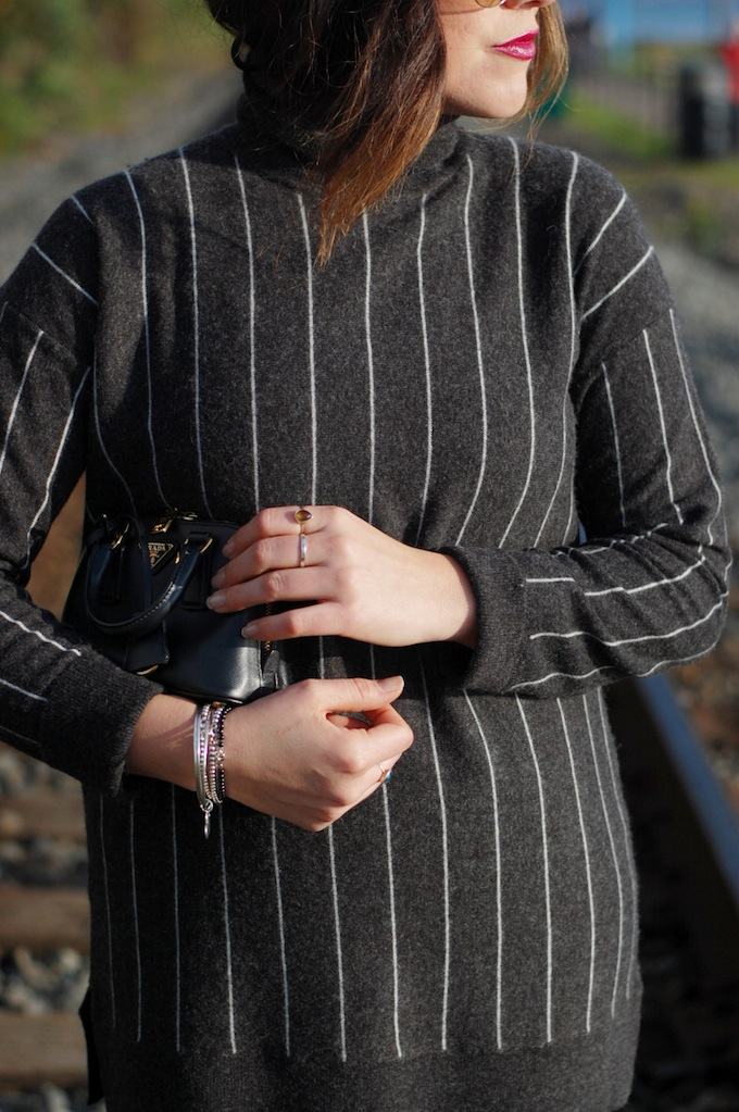 424 Fifth striped wool sweater and pencil skirt outfit