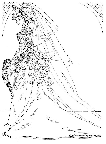 Wedding Princess Barbie Coloring Pages