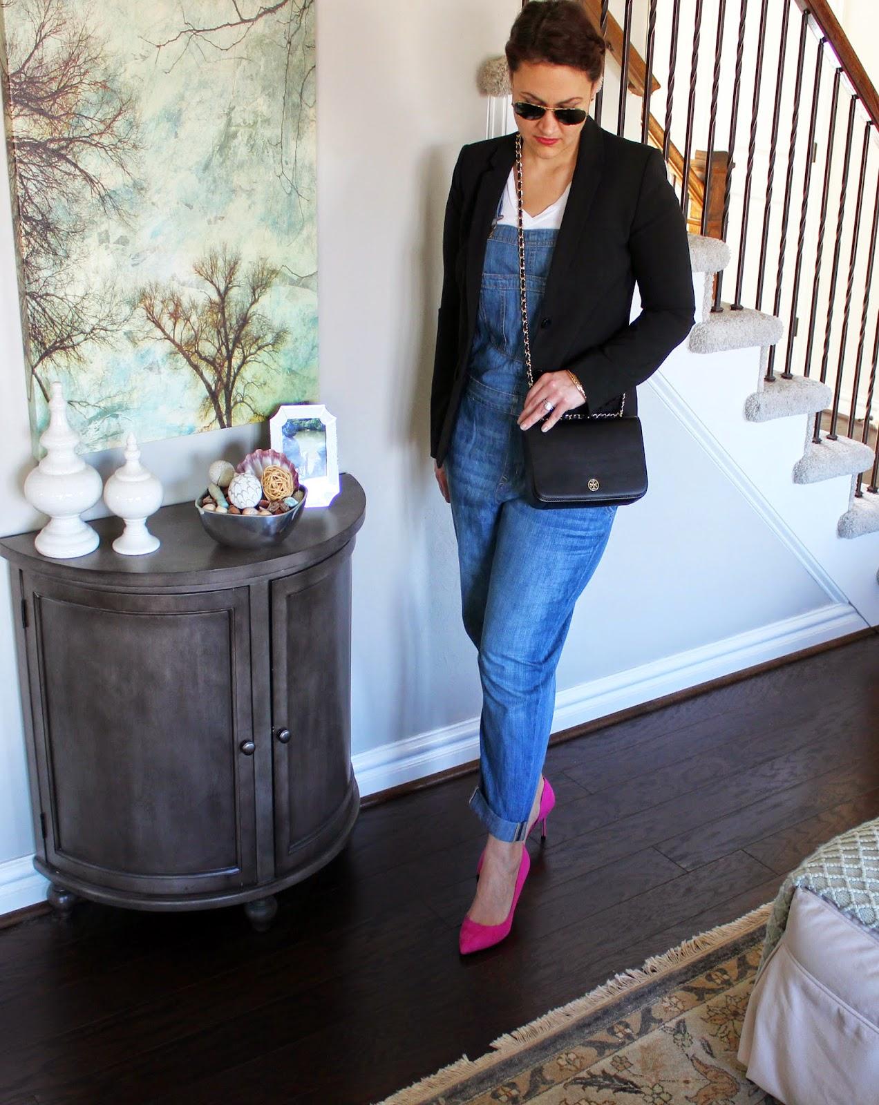 Gap black blazer, Madden Girl Pink Dorsay pump, rayban, overalls, tory burch cross body, robinson,