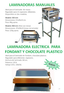 laminadoras manuales y laminadora electrica para fondant y chocolate plastico.