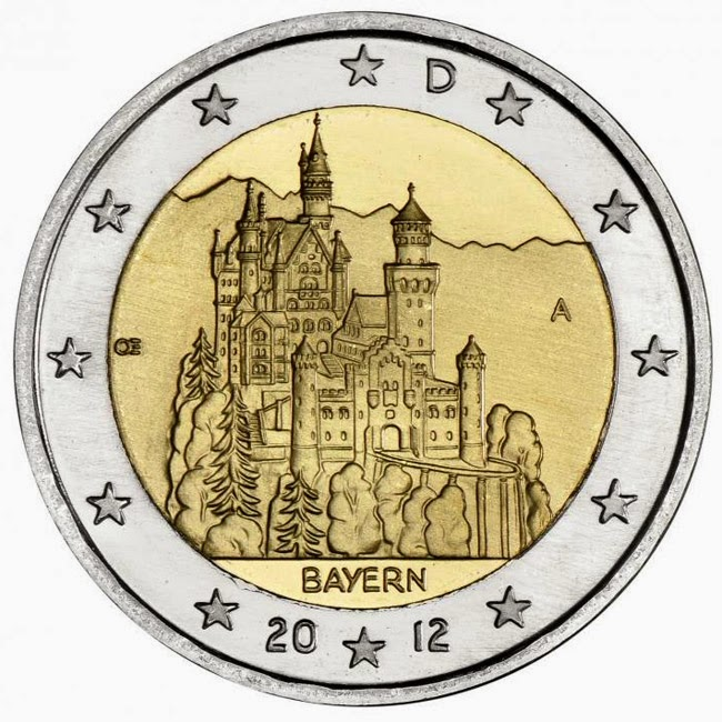 2 Euro Commemorative Coins Germany 2012, Bavaria Neuschwanstein Castle Füssen