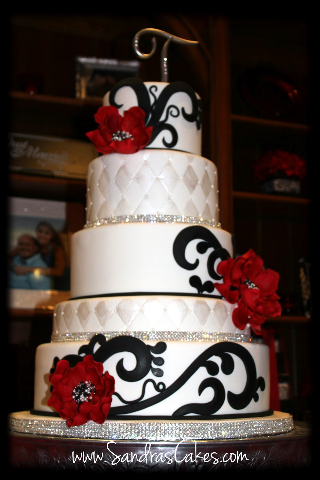 Sandra s Cakes Red Black and White Wedding Cake
