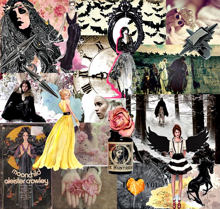 Dark fantasy mood board, game of thrones, bats, magic books, angels, princess dress, dried roses