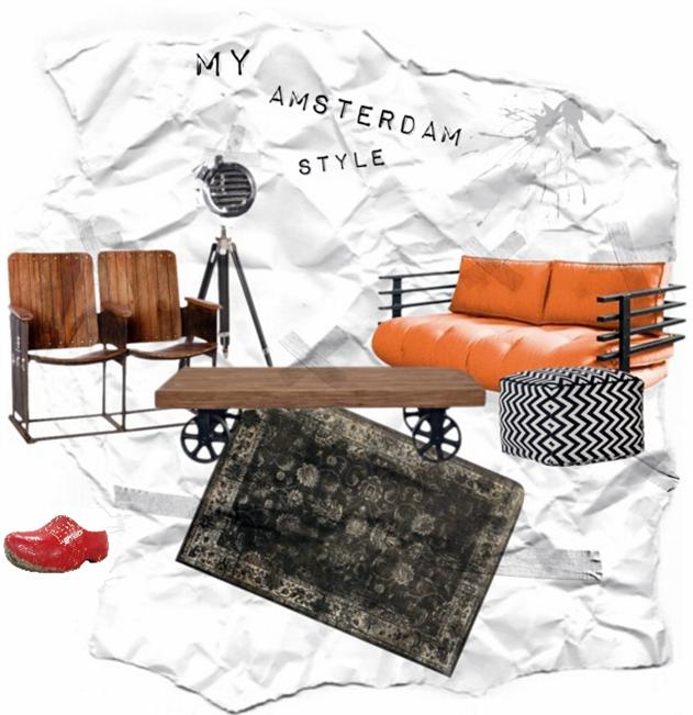Interior-Collage, um das Flair von Amsterdam einzufangen