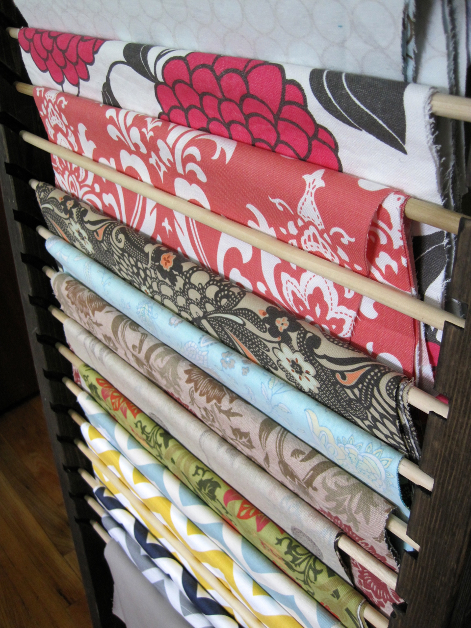 Fabric Organizer Wood Frame With Slots For Dowels The
