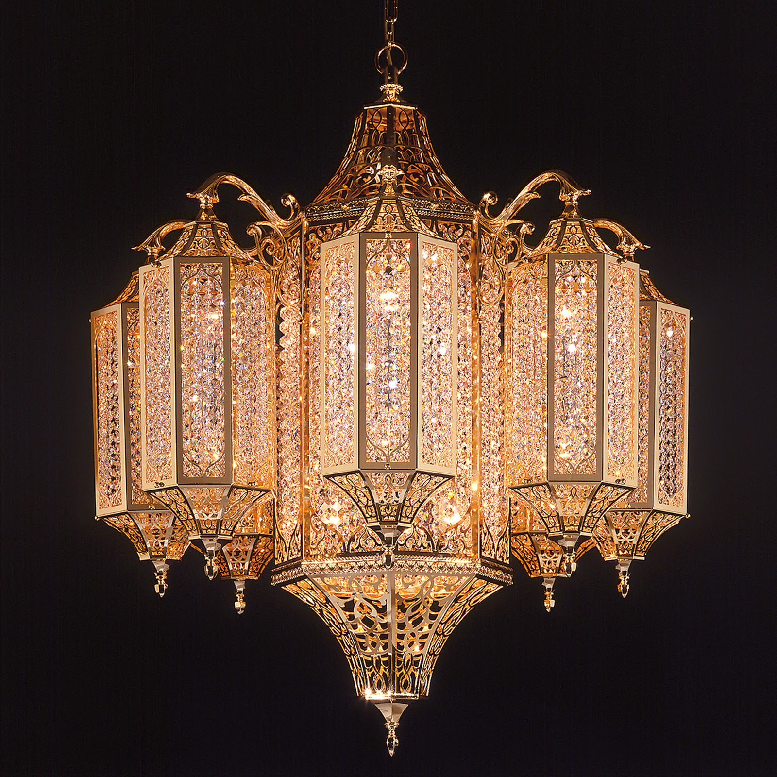 This Breathtaking photo of Oriental Gold Swarovski Crystal Chandelier ...
