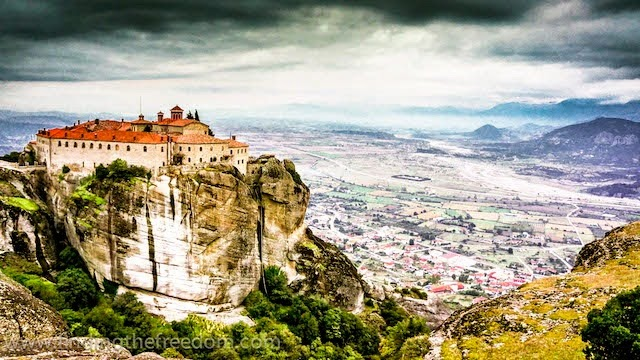 Ancient Monastery built high upon a rock in Meteora Greece