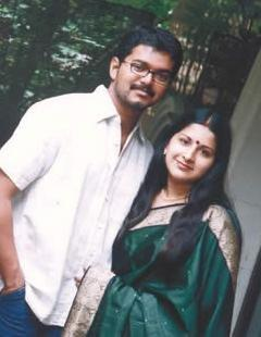 Vijay and wife Sangeetha