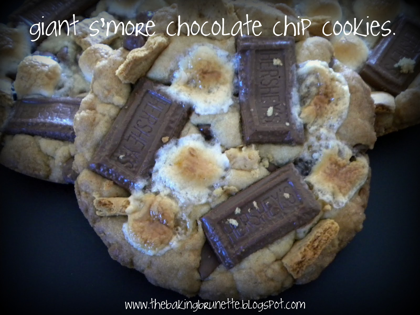 the baking brunette: giant s'more chocolate chip cookies.