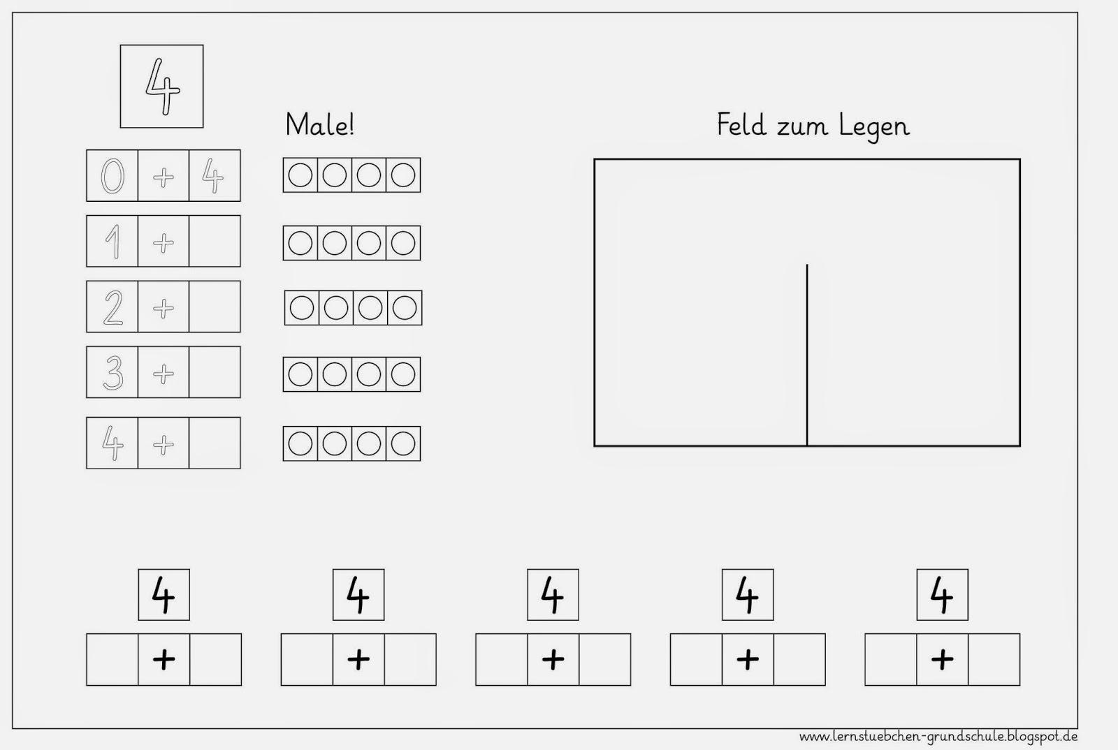 Lernstübchen: Zahlen zerlegen 4 bis 7