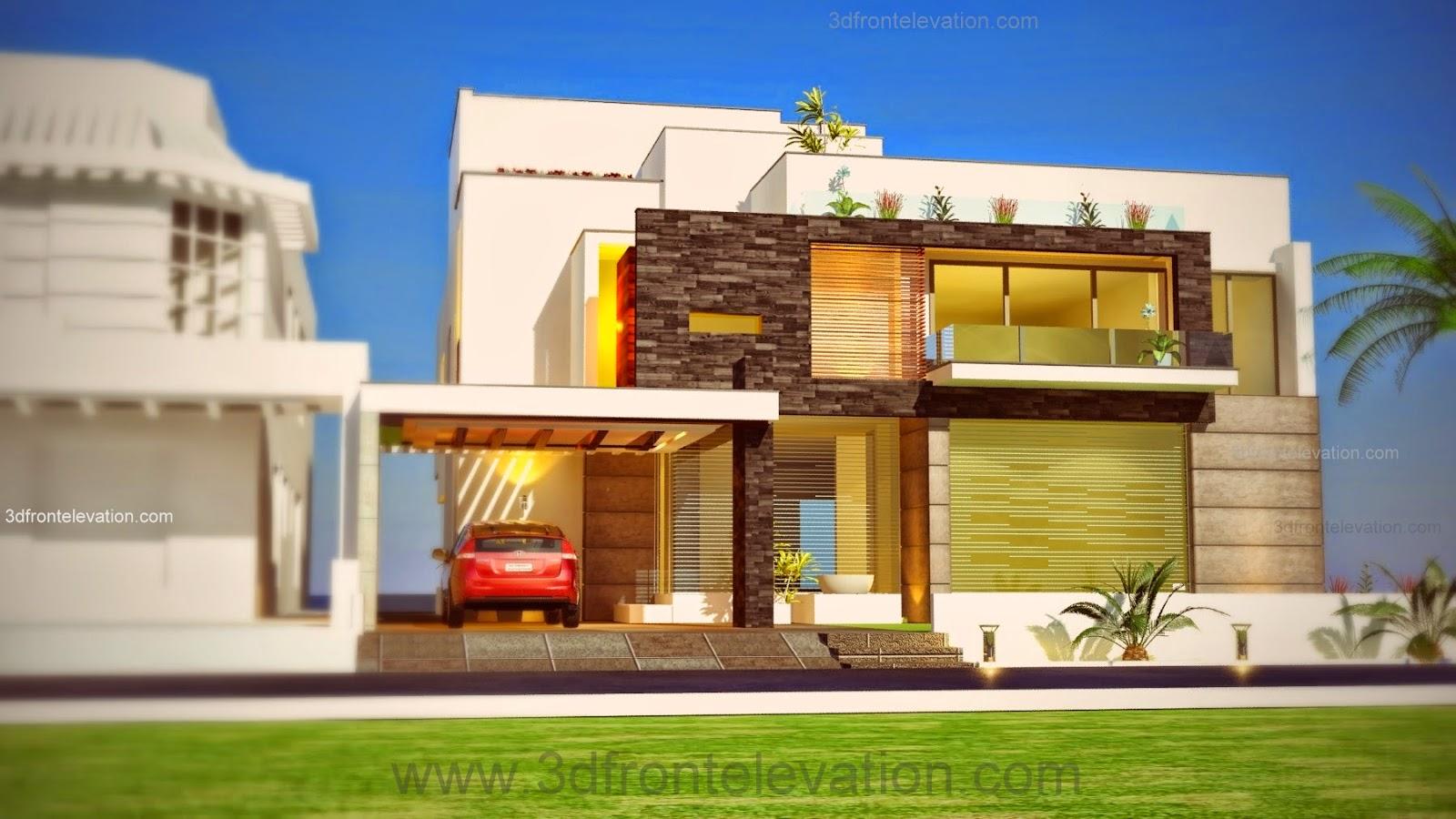 3d front 1 kanal plot new beautiful for Pakistan modern home designs