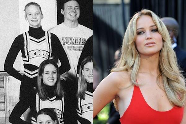 Jennifer Lawrence — Now, you want to talk about someone blossoming later in life? Just take a look at Jennifer Lawrence. In the photo on the left, she's the average-looking one in the top left corner. And in the photo on the right? Absolutely smoking hot.
