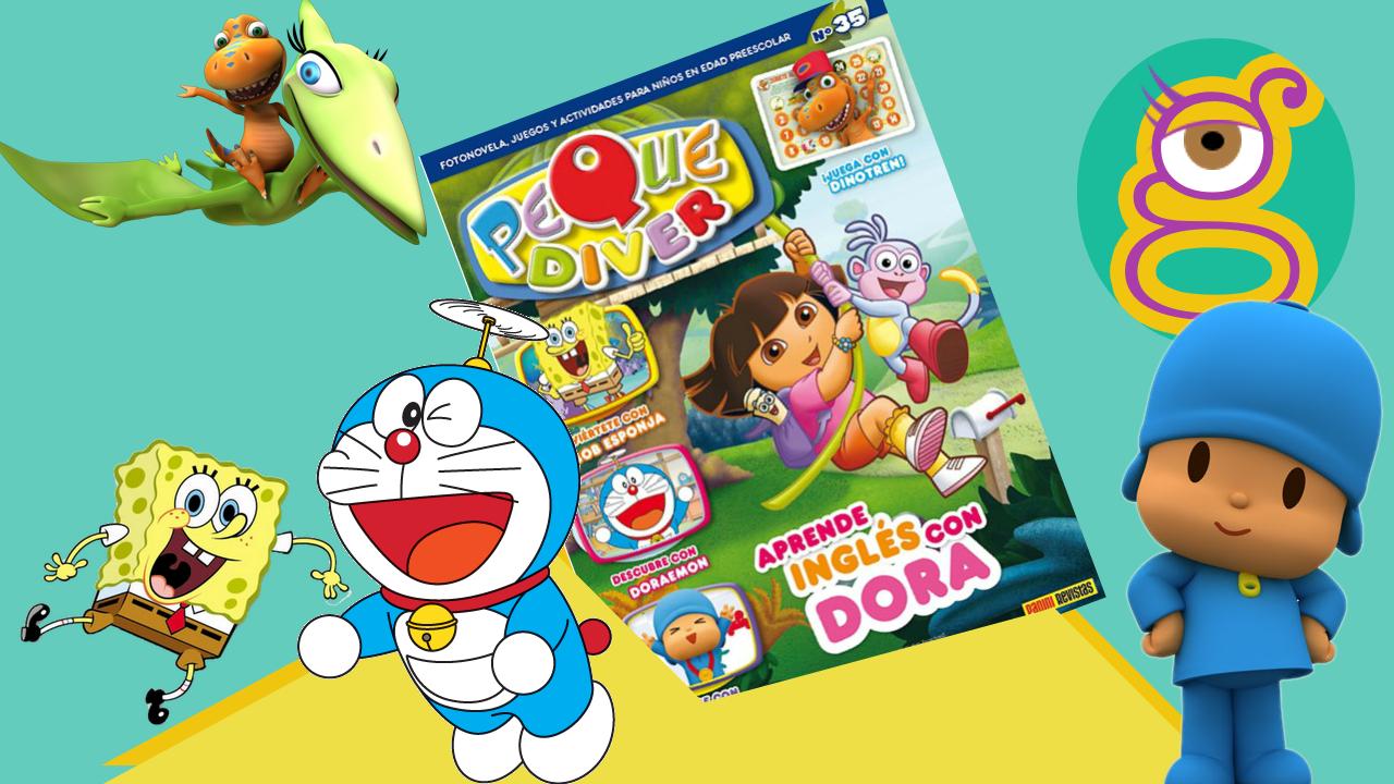 Sobre sorpresa revista de Dora la Exploradora con un cuento de Ben y Holly, Pocoyo, cromos de Peppa Pig, Doraemon, Bob Esponja y Dinotren.  Blind bag, Dora the Explorer magazine that incluyes a story about Ben and Holly, Pocoyo, Peppa pig stickers, Doraemon, Spongebob and Dino Train.