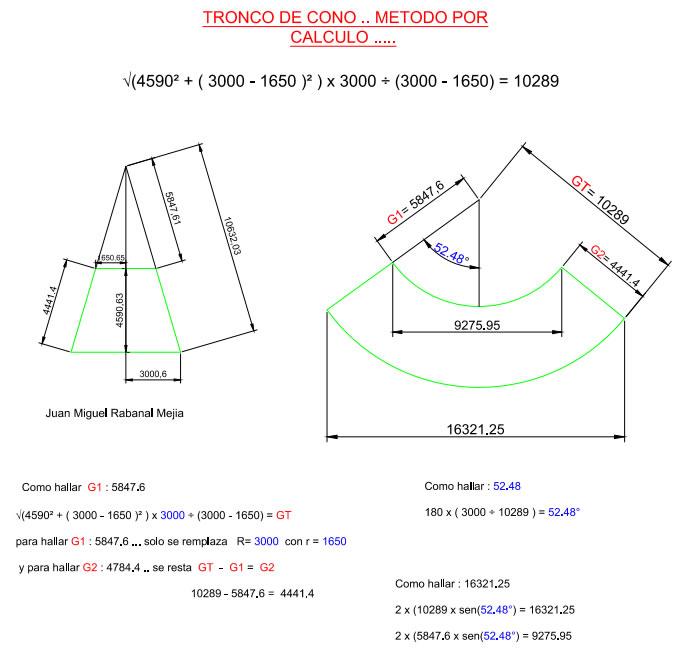 Tronco de cono metodo por calculo caldereria y soldarura - Como hacer un cono ...