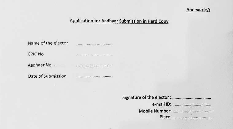 Election Commission of India ffline application from BLO for aadhaar card linking with voter id