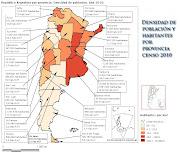 . cantidad de habitantes y su densidad (no la superficie), . mapa