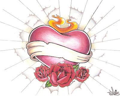 desenho new school de coração para tattoo