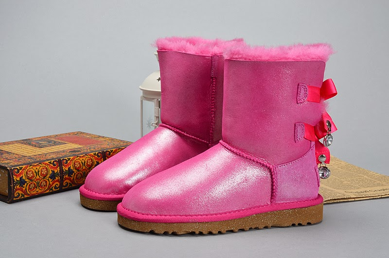Ugg Bows Shoes Fur Lining Winter Snow Days Pink