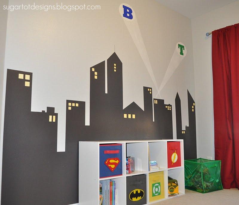 Superhero boys room storage bins and more design dazzle for Superhero bedroom decor