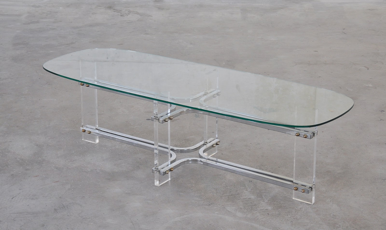 Select Modern Mid Century Modern Chrome Lucite Glass Surfboard Coffee Table