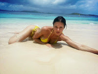 Adrianne Curry laying in sand wearing a  Yellow Bikini