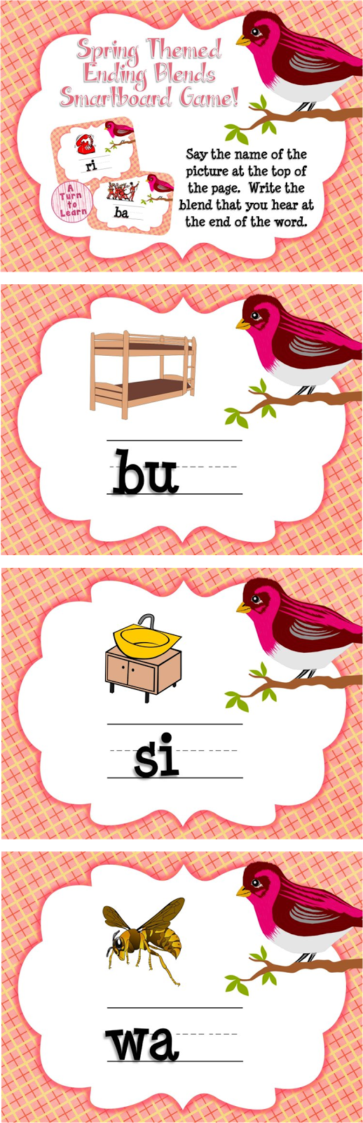 Spring Themed Ending Blends Game for Smartboard or Promethean Board