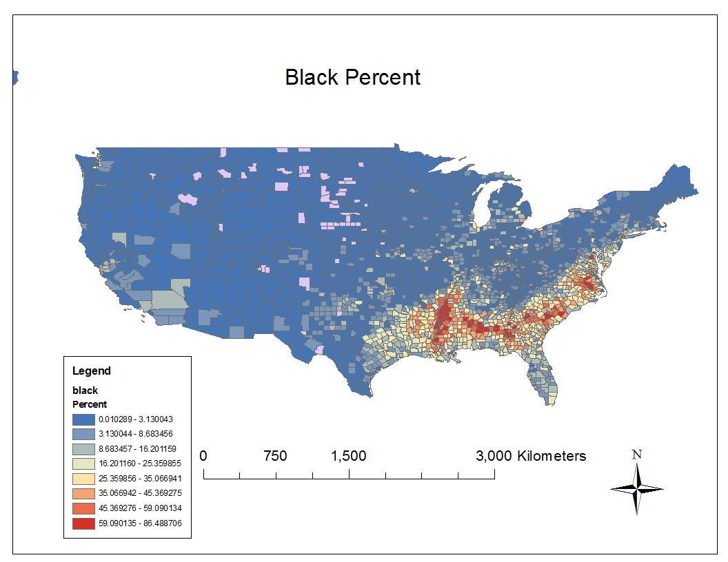 the map above shows the distribution of the black population as a percent within each county throughout the united states this map is representative of