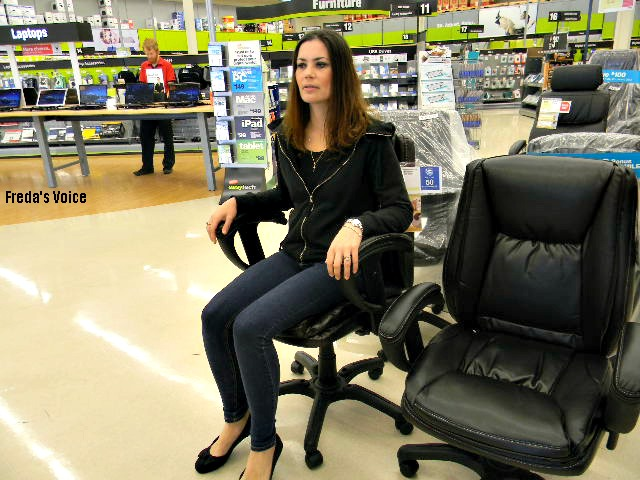 So I went about trying out each and every chair available. Thankfully my sister was there to take photos. Maybe not the most flattering for me ...  sc 1 st  Fredau0027s Voice & Staples Big Chair Event