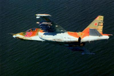 Су-25 из 960-го ШАП в полете над Азовским морем.