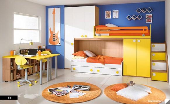 яркий дизайн для маленькой комнаты для двух подростков фото