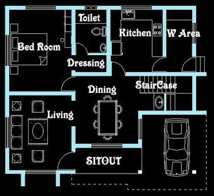 Kerala Model 1100 Square feet house designs