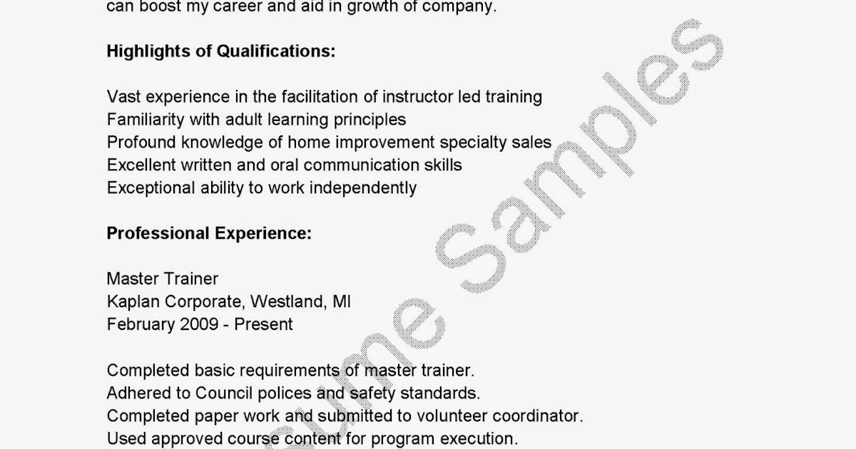 Master Trainer Sample Resume