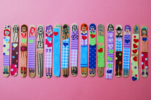 Valentines stick dolly craft