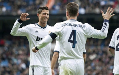Sergio Ramos and Cristiano Ronaldo celebrate their goals against Getafe