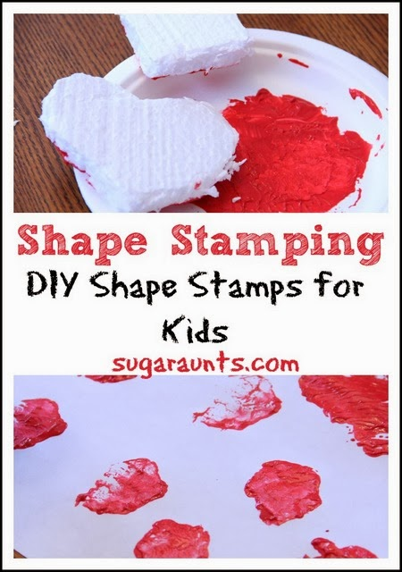 Creative painting with styrofoam shape stamps